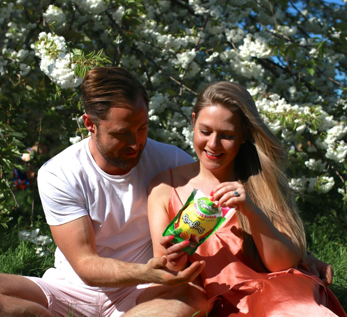 Katie heath and Ben Heath with Rowntrees Randoms 30% less sugar