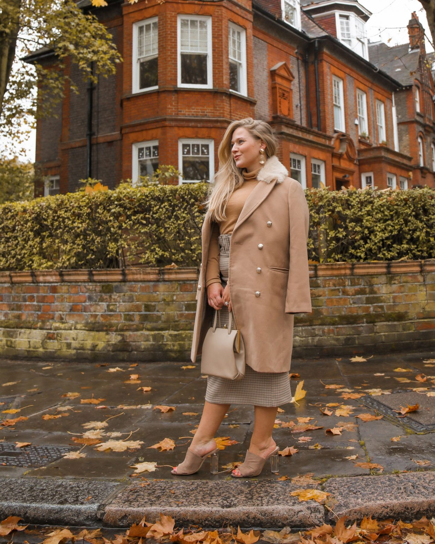 Katie Heath, Kalanchoe wearing camel and check pencil skirt