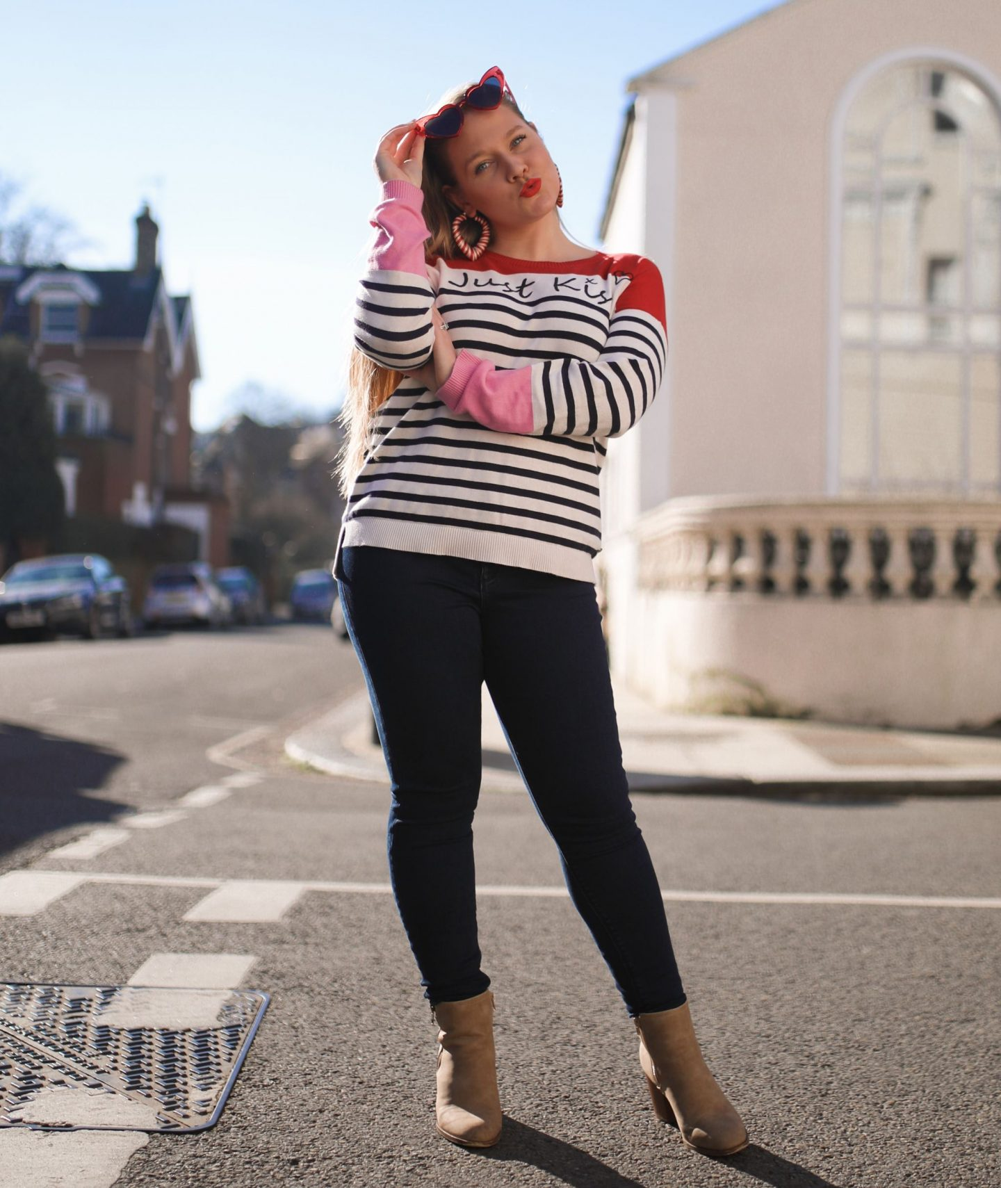 Katie Heath, KALANCHOE wearing Just Kiss Striped jumper for Valentines Day