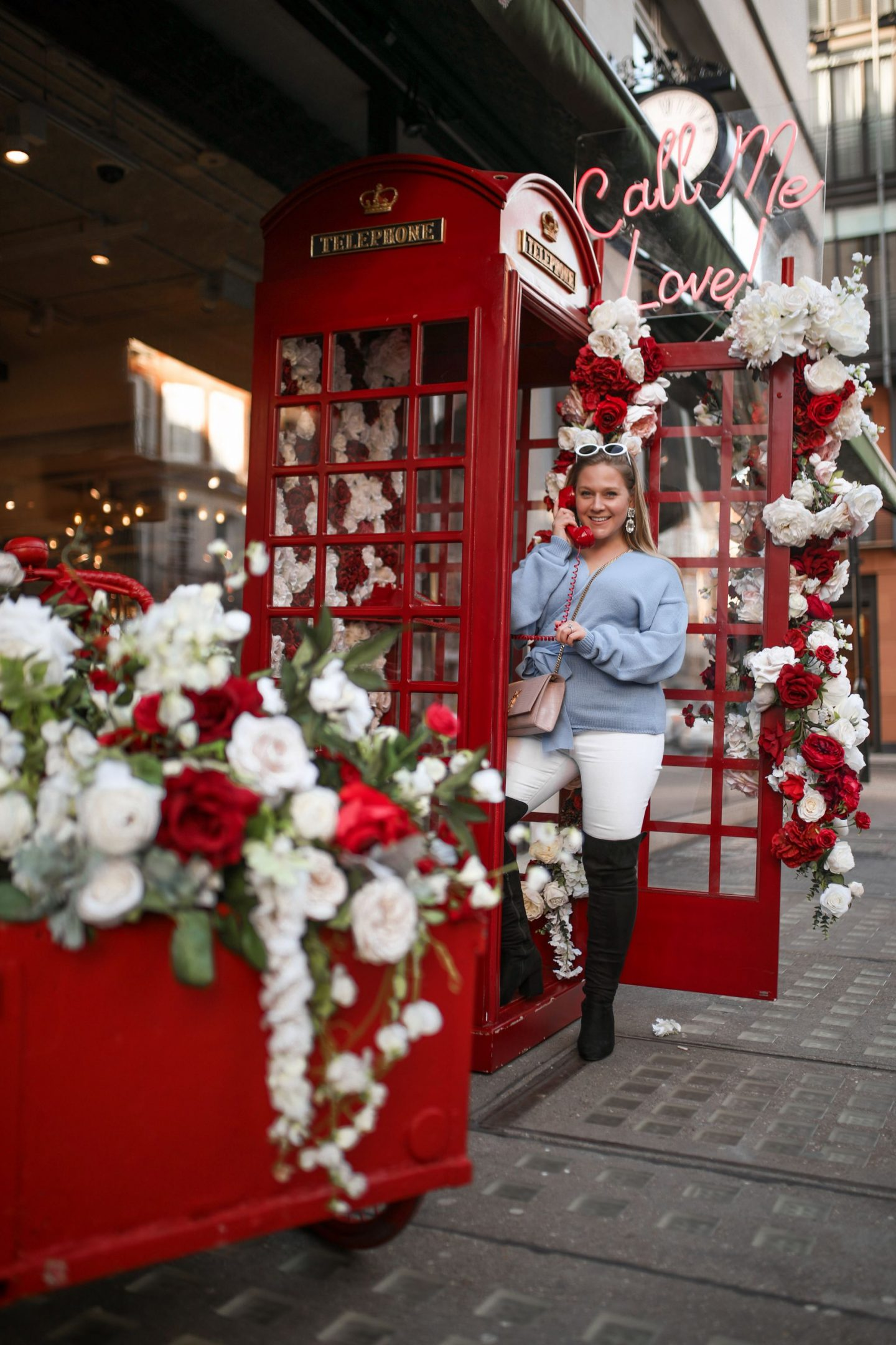 Katie Heath wearing Lorna Luxe X In The Style Collection, at The Hedonism Wines Valentines Display in Mayfair, KALANCHOE
