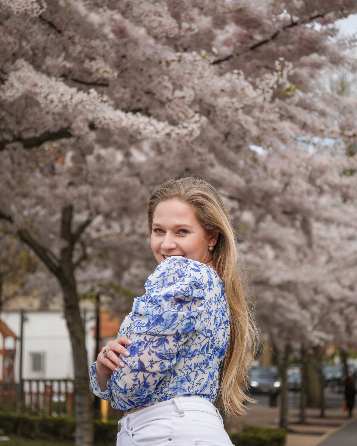 Floral Lace Coat, White jeans and a blue and white porcelain top, Katie Heath, Kalanchoe