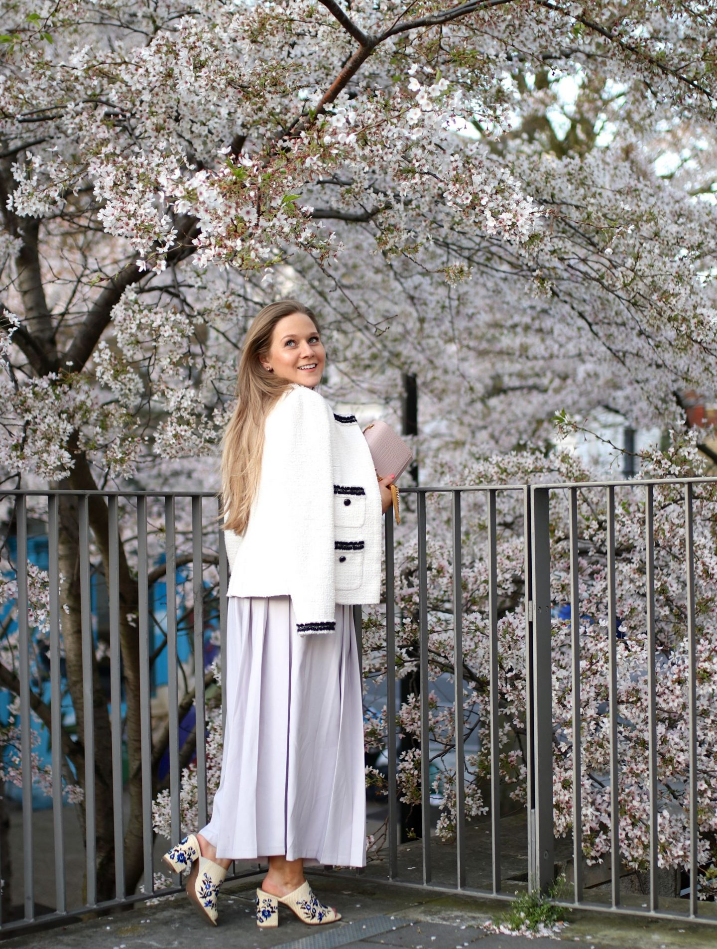 Katie Heath, KALANCHOE wearing spring trends ruffles, culottes and embroidered mules