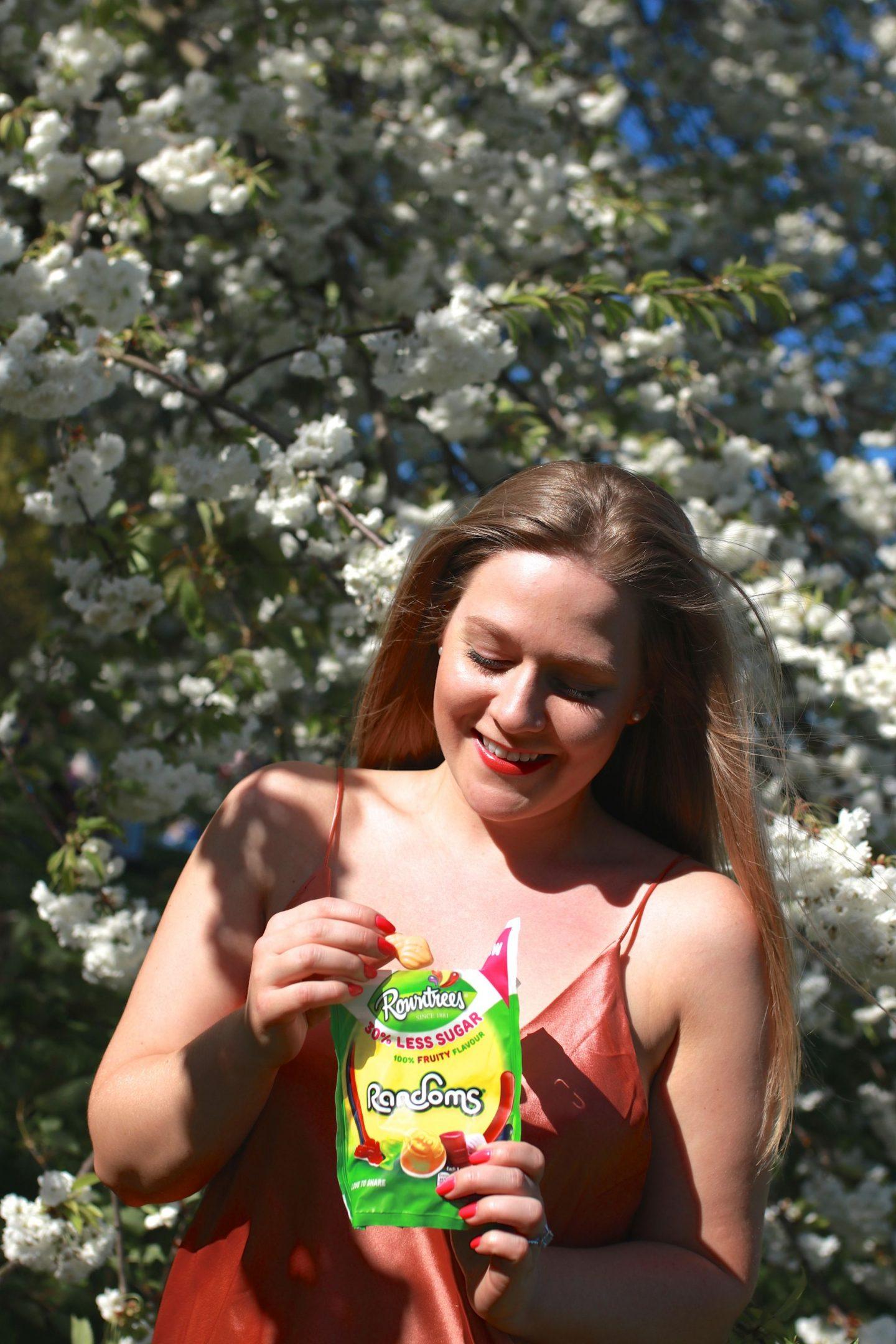 Katie heath and Ben Heath with Rowntrees Randoms 30% less sugar