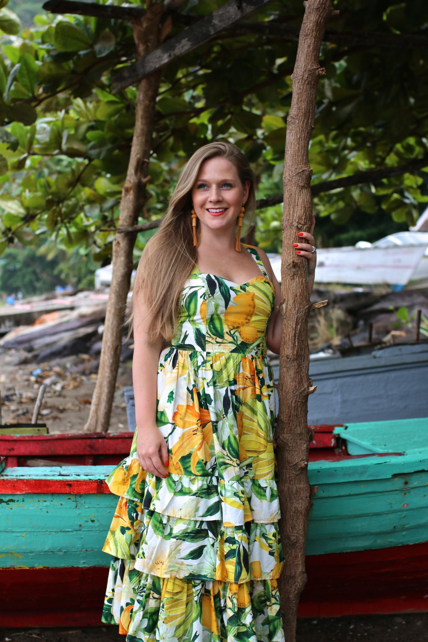 Katie Heath, KALANCHOE, St Lucia Outfit Diaries, Dolce and Gabbana Dupe Dress
