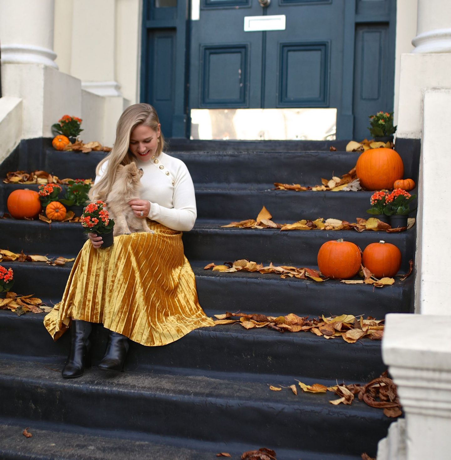 Katie Heath autumn decorating for fall with pumpkins and kalanchoes, KALANCHOE