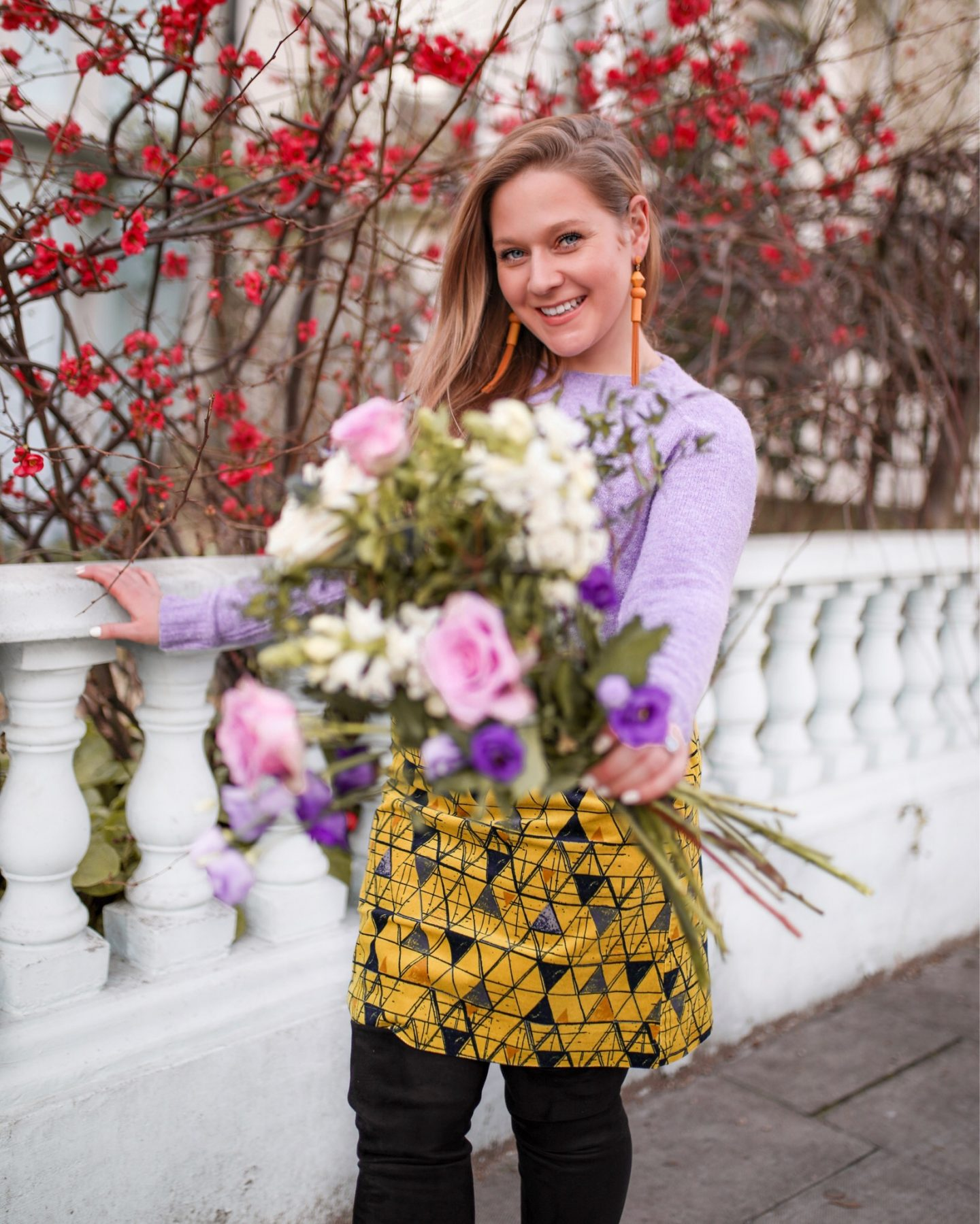 Katie Heath, KALANCHOE wearing spring Geometrics by White Stuff