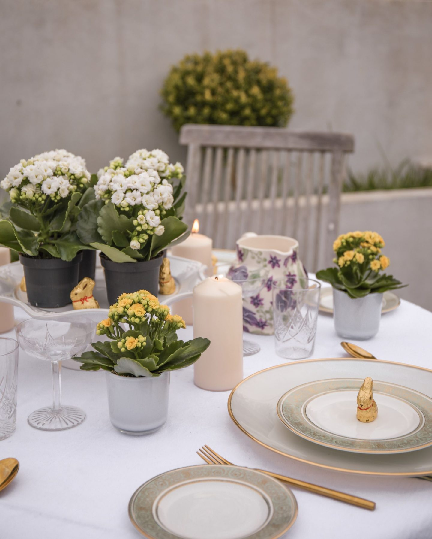 Easter Table Inspiration set up using Kalanchoes, Katie Heath, Katie Kalanchoe