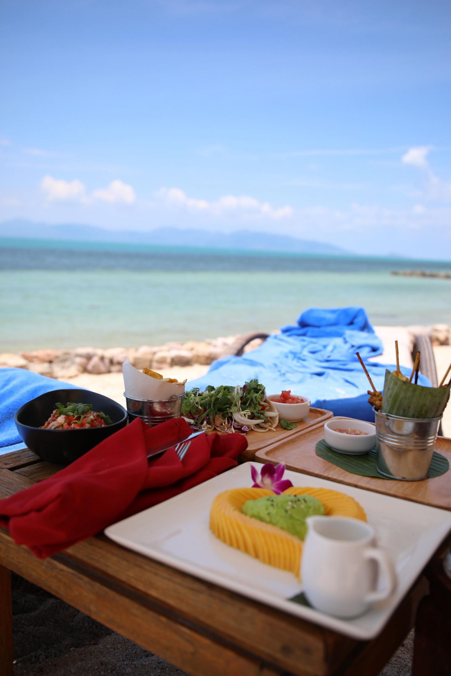 Lunch on the beach at The Belmond Napasai in Koh Samui Thailand, Katie KALANCHOE
