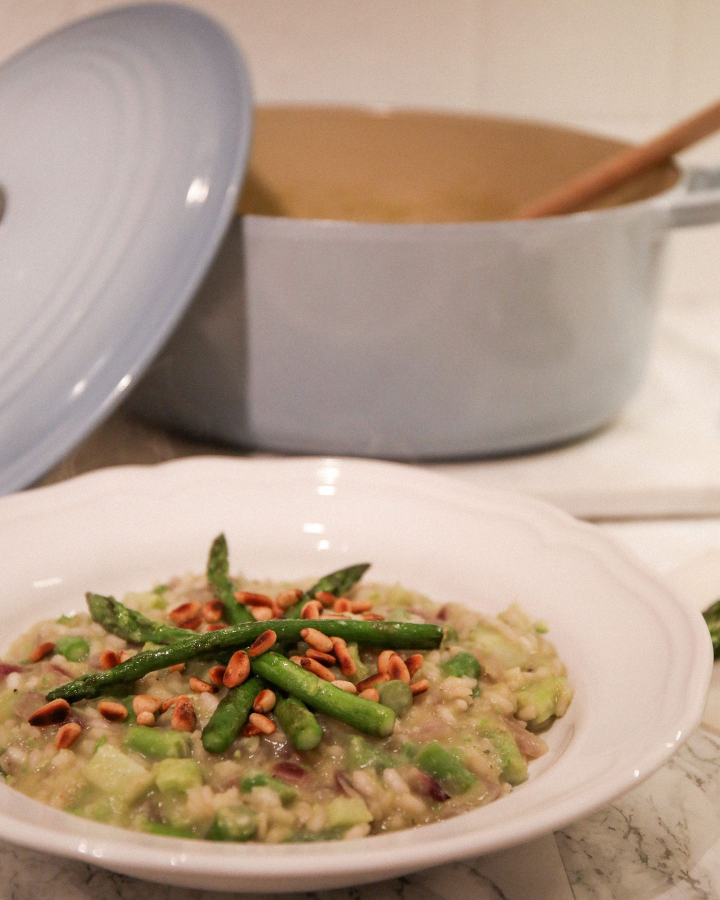 Asparagus and Pine Nut Risotto, Vegan Recipe, Katie Heath, KALANCHOE