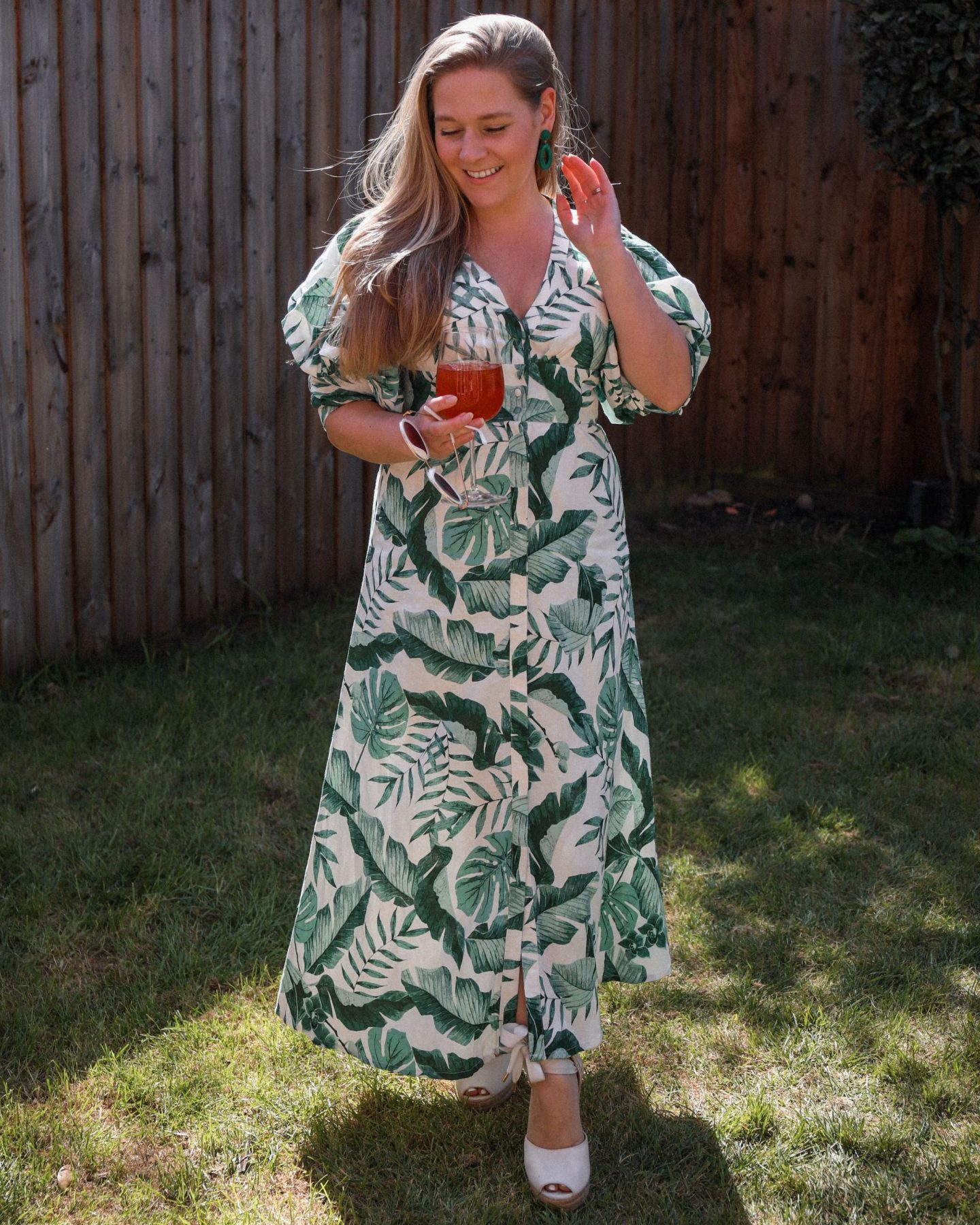 Johanna Ortiz X H&M green palm print dress, Katie Heath, KALANCHOE