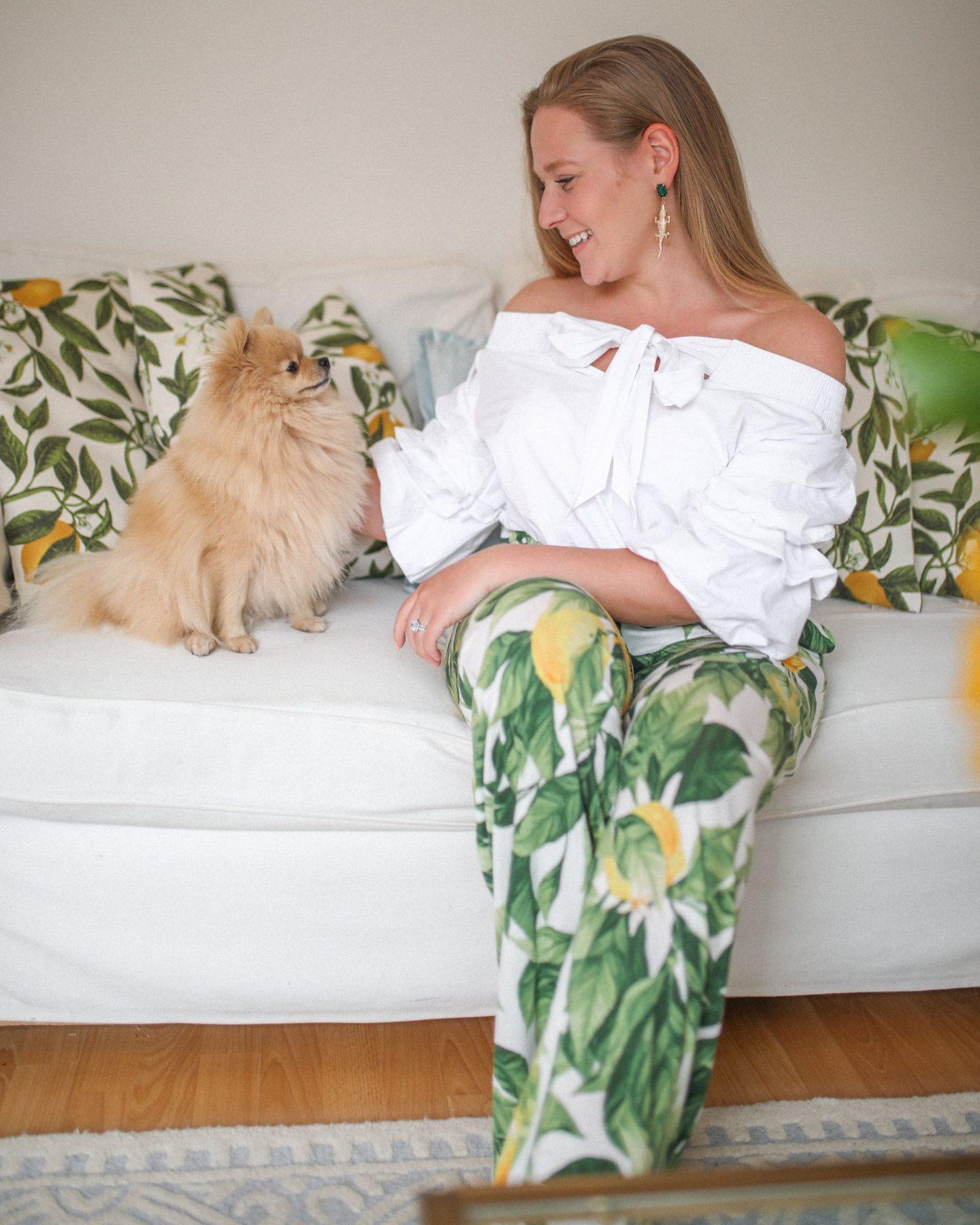 Lemon print trousers and off the shoulder white top, Fashion, Katie Heath, KALANCHOE