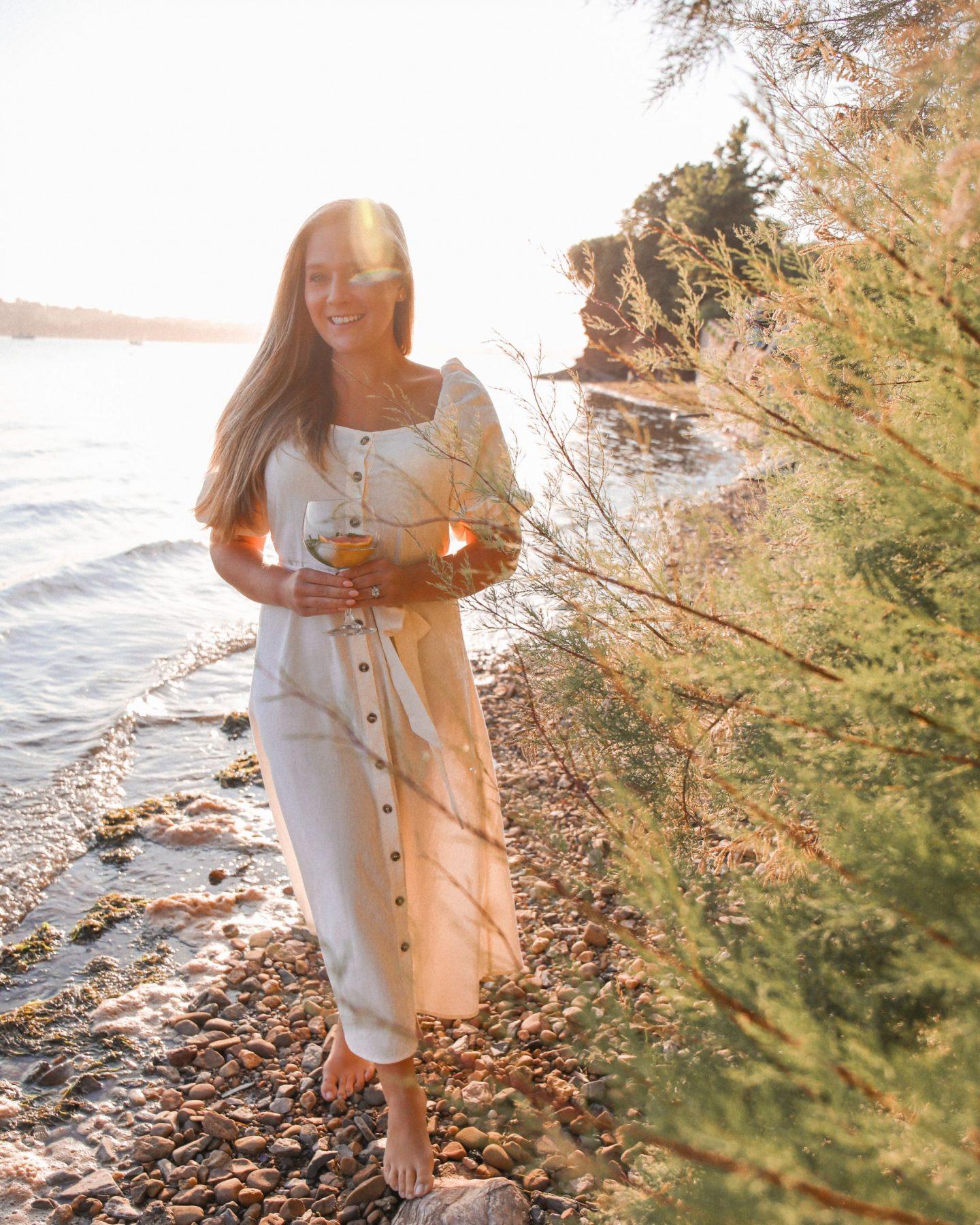 White puff-sleeved dress at sunset, Katie Heath, KALANCHOE