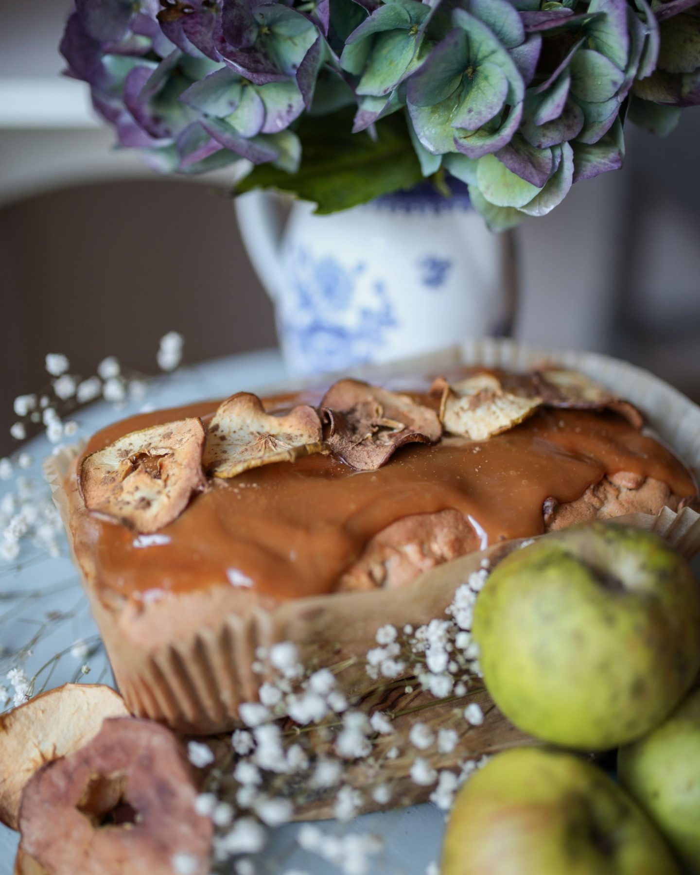 Apple Cinnamon Loaf cake with caramel icing and apple crisps, Katie Heath, KALANCHOE