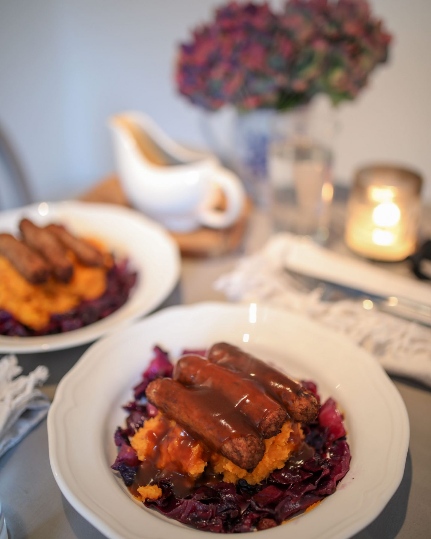 Posh Vegan Bangers and Mash, Katie Heath, KALANCHOE