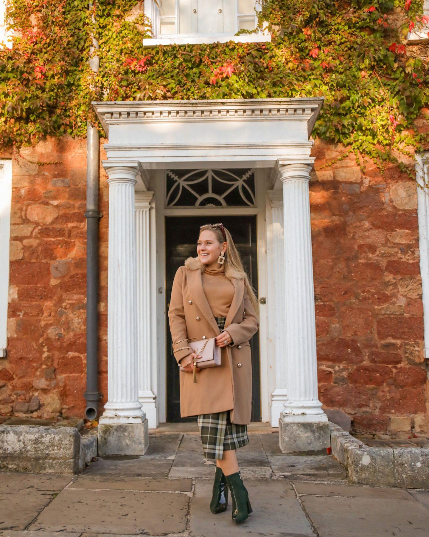 Camel Top and Tartan Skirt for autumn, Katie Heath, KALANCHOE
