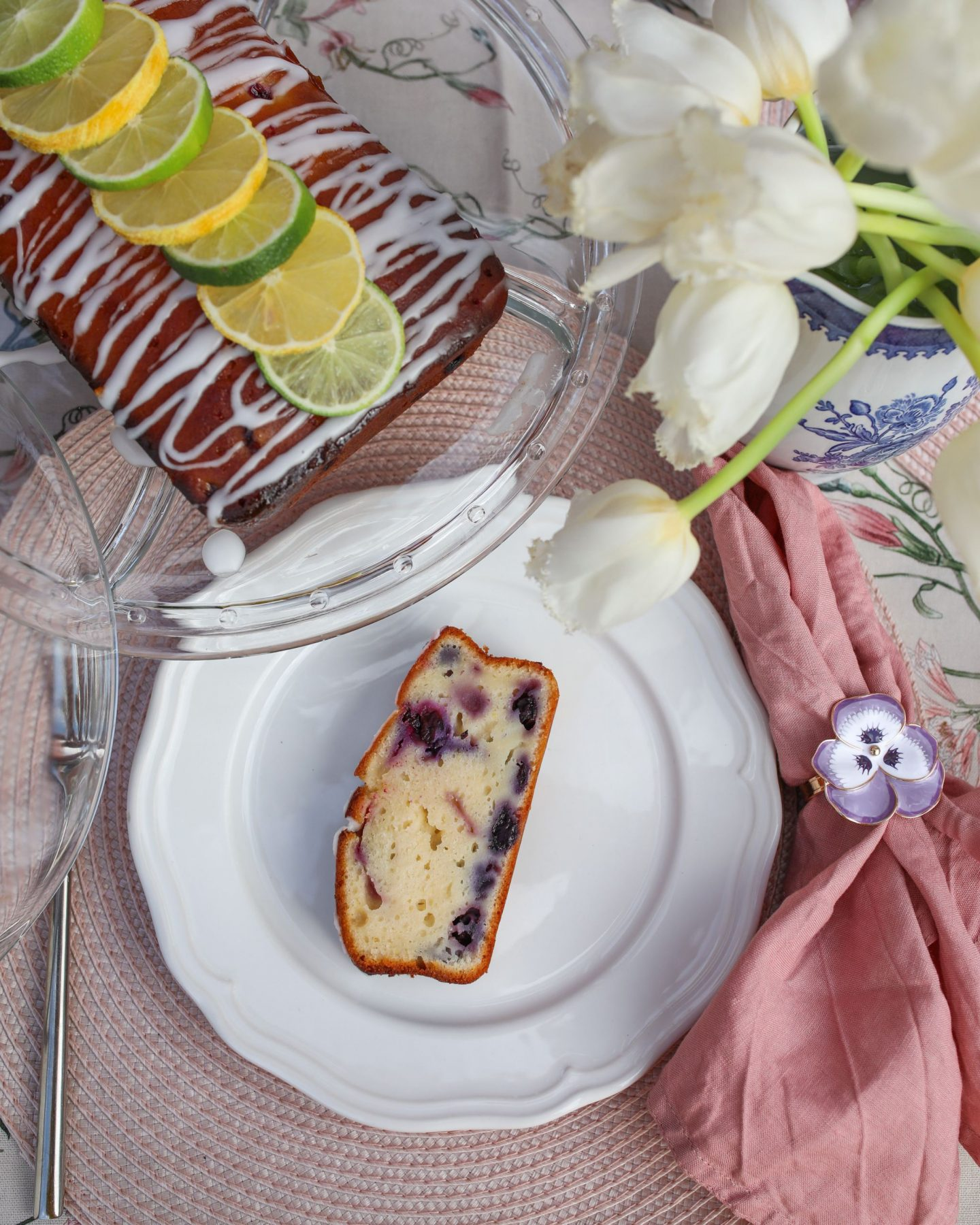 Iced Lemon and Blueberry Drizzle Loaf Cake | Katie KALANCHOE