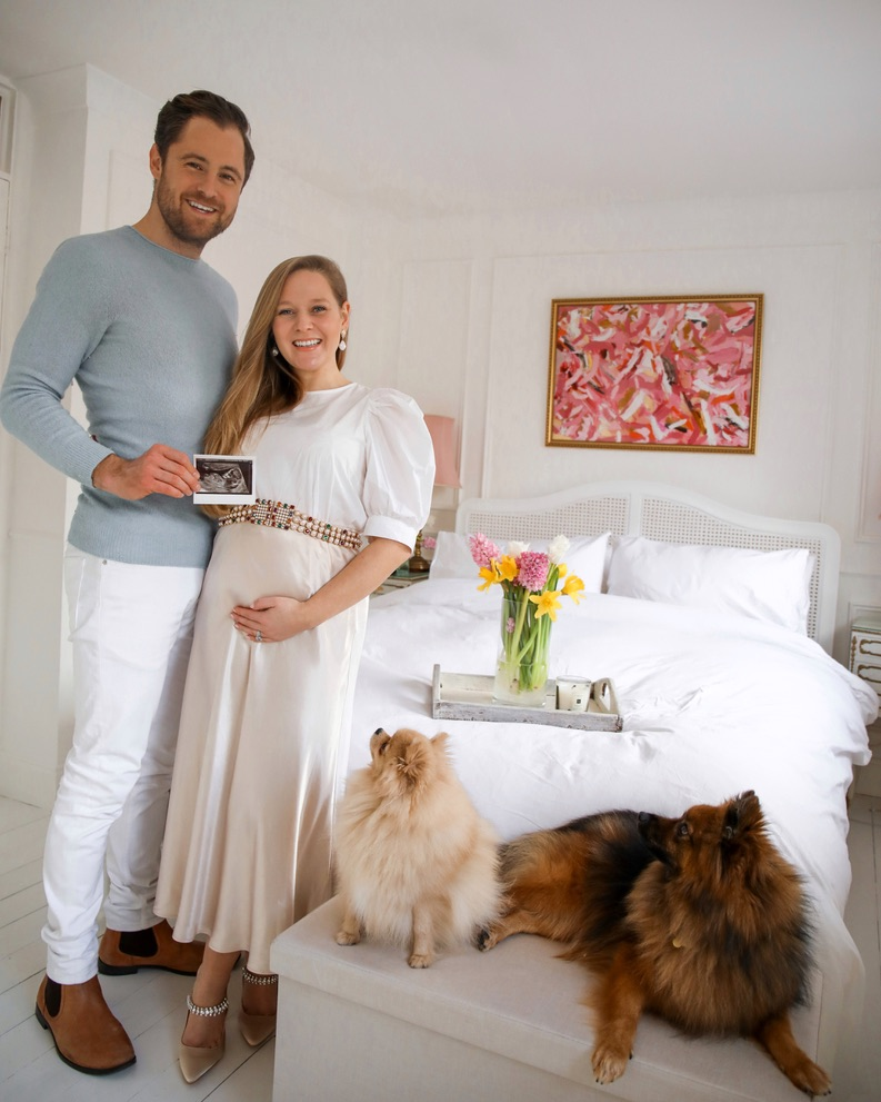 Ben and Katie Heath with Pepi and Oscar the Pomeranians, Pregnancy Announcement, Katie KALANCHOE