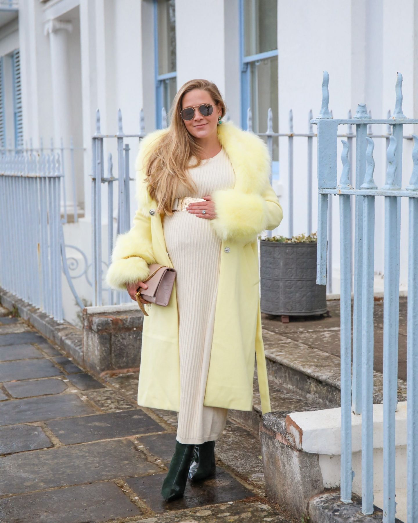 Yellow knit dress and yellow fur trimmed coat, Katie KALANCHOE